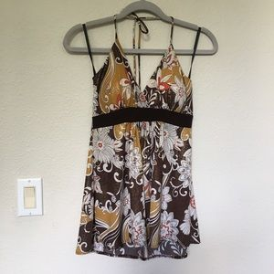 Entry Floral Print Halter Top with Metallic Sheen